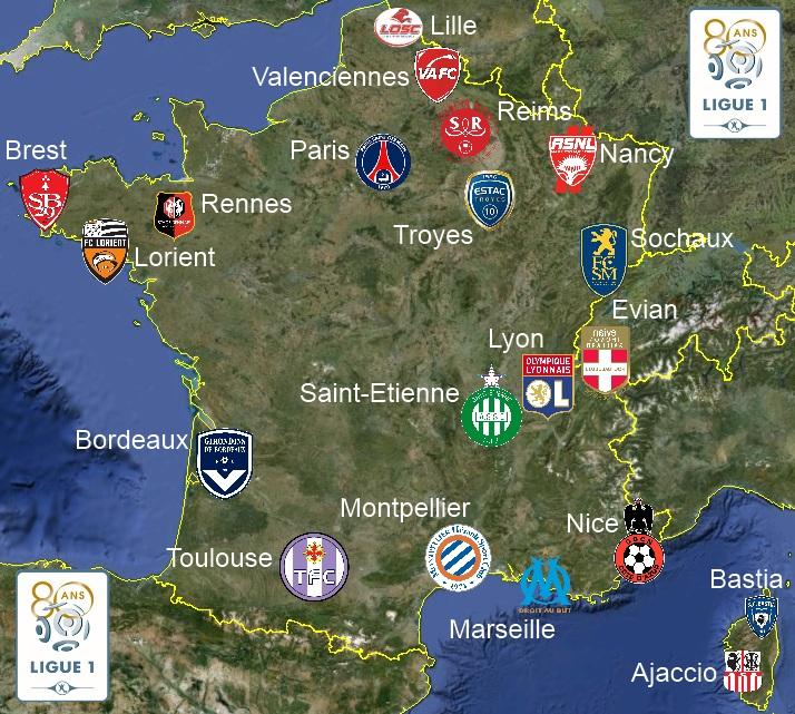 Article carte de france des clubs de ligue 1 - Resultat foot lyon marseille coupe de la ligue ...
